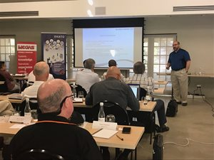 Matthew Thayer from co-sponsor Koch Knight, presents technologies and advancements in brick lining.