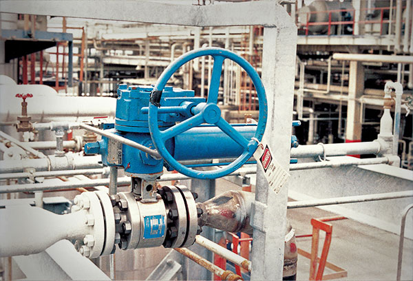 MOGAS valves in line at a petrochemical plant for olefin production.